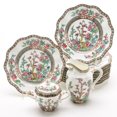 "Coalport ""Indian Tree"" Salad Plates with Creamer and Sugar Bowl, 1891–1920"