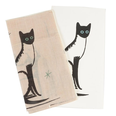 "Stell & Shevis Handprinted ""Siamese Cats"" Card and Handkerchief, Mid-Century"