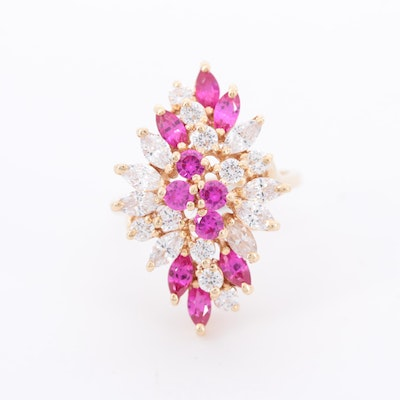 14K Yellow Gold Cubic Zirconia and Ruby Ring