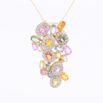 18K Yellow Gold Multi-Color Sapphire and 1.01 CTW Diamond Articulated Necklace