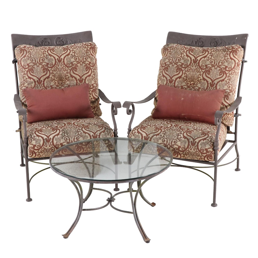 Contemporary Aluminum Patio Armchairs and Table