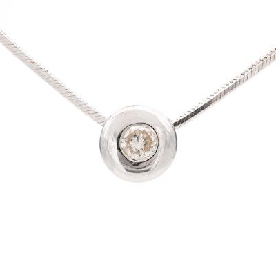 14K White Gold Diamond Solitaire Pendant Necklace