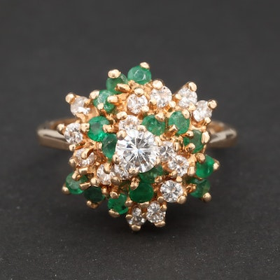 14K Yellow Gold Diamond and Emerald Cluster Ring