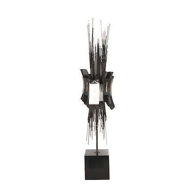 Brutalist Style Iron On Granite Abstract Sculpture