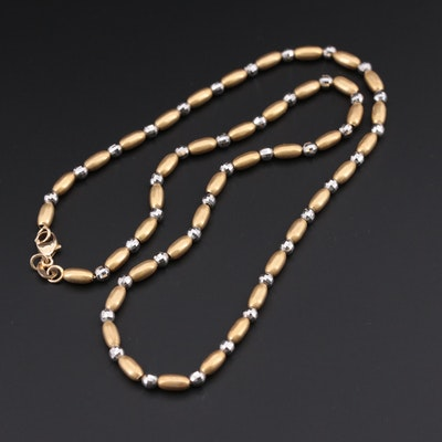 14K Yellow Gold Chain Beaded Necklace