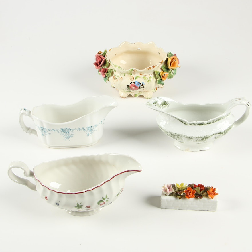 Transferware Gravy Boats with Hand-Painted Bowl and Figurine