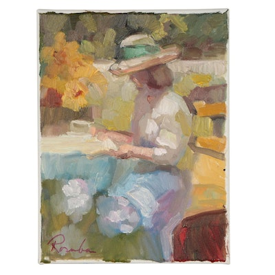 Sally Rosenbaum Oil Portrait of Reading Female