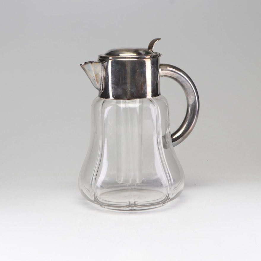 Deutsches Reichsgebrauchsmuster Silver Plate and Cut Glass Water Pitcher
