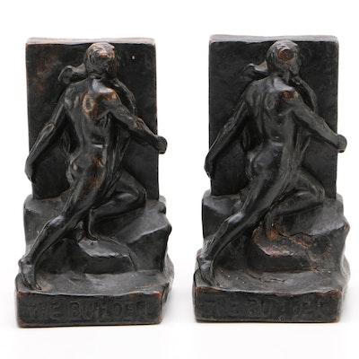 "Kileny Art Deco Bronze Cast ""The Builder"" Bookends, Circa 1930"