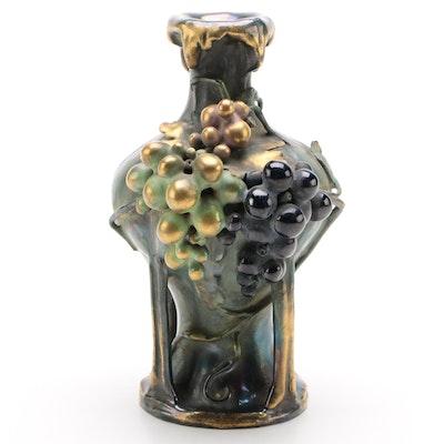 Art Nouveau Teplitz-Turn Amphora Lusterware Grapevine Vase, Antique
