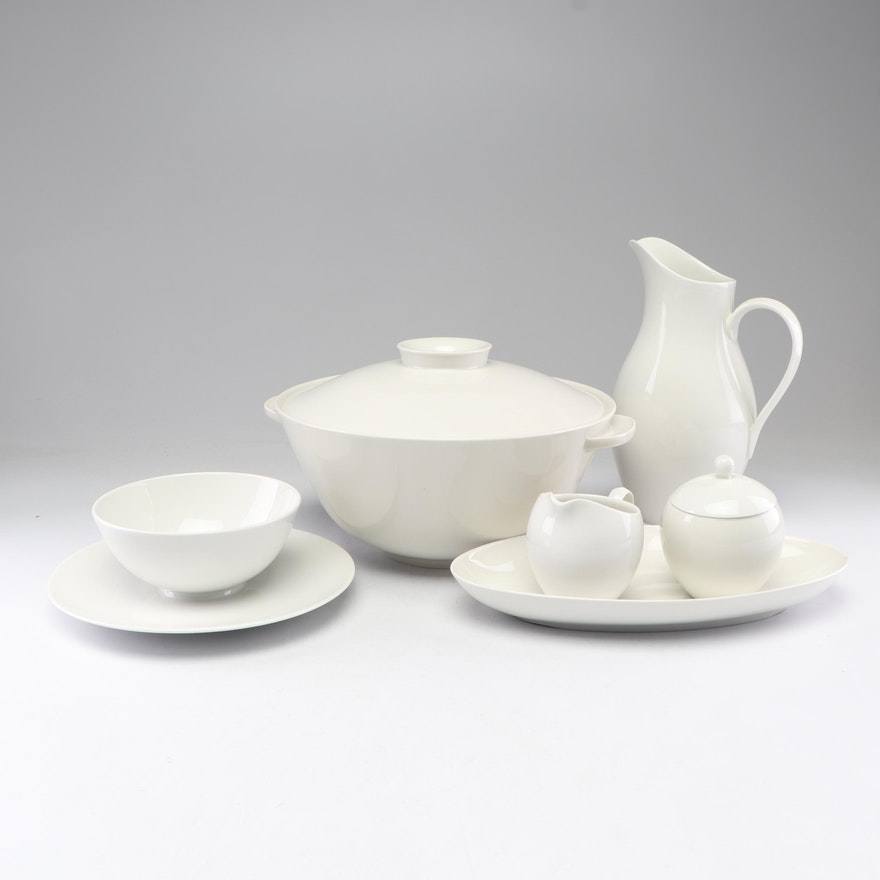 "KPM ""Urbino"" Modern White China Serving Pieces"