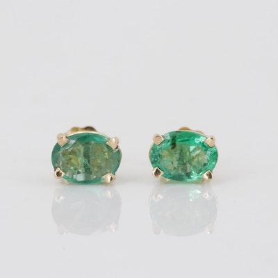 18K Yellow Gold 1.50 CTW Emerald Stud Earrings