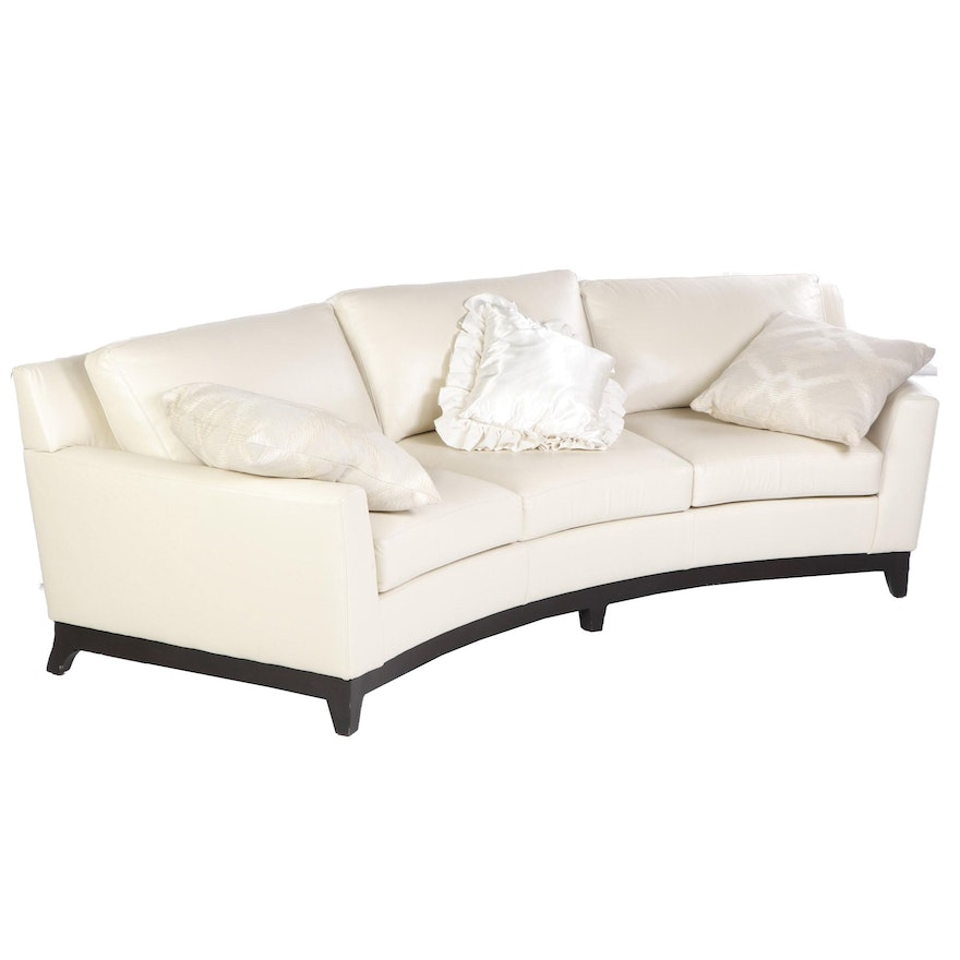 Tremendous Modern Eggshell White Leather Upholstered Curved Sofa Late Caraccident5 Cool Chair Designs And Ideas Caraccident5Info