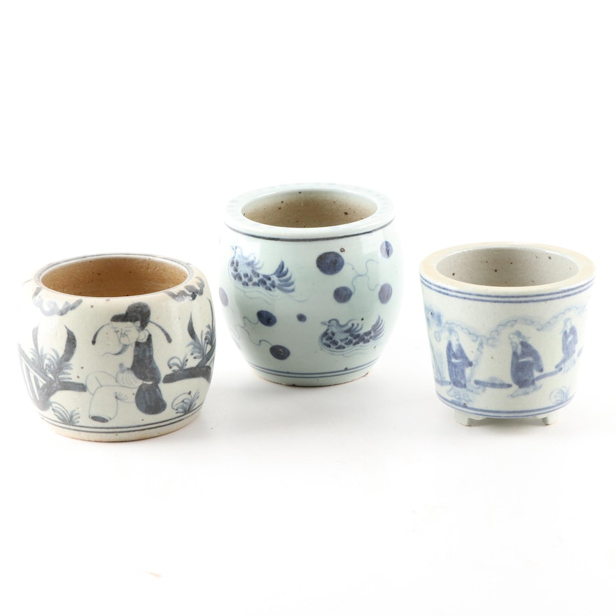 Chinese Hand-Painted Blue and White Glazed Ceramic Planter Vessels