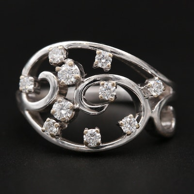 18K White Gold Diamond Openwork Ring