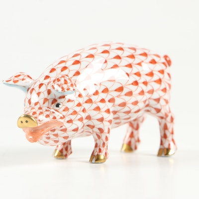 """Herend Rust Fishnet with Gold """"Pig"""" Porcelain Figurine"""