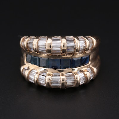 14K Yellow Gold, Blue Sapphire and 1.75 CTW Diamond Ring