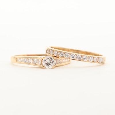 14K Yellow Gold 1.06 CTW Diamond Ring Set