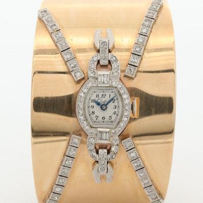 Vintage Croton 14K Gold, Platinum and 1.24 CTW Diamond Stem Wind Wristwatch