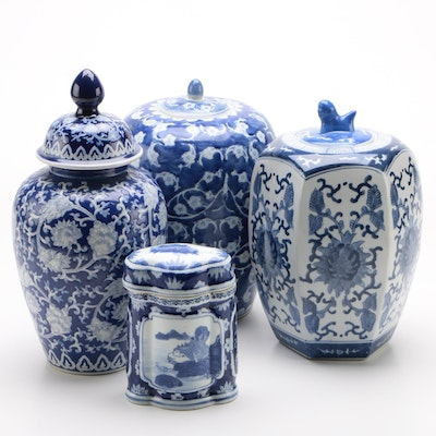 Assortment of Blue and White Chinese Porcelain Jars