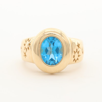 14K Yellow Gold Topaz Ring with Sun, Moon and Stars Motif