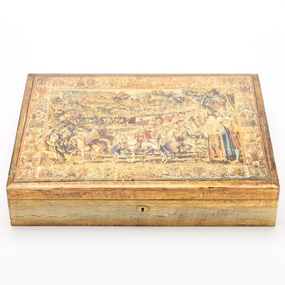 Florentina Giltwood and Tapestry Print Decoupage Document Box, Mid-Century