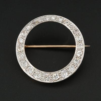 Circa 1930s Platinum and 18K Yellow Gold 1.34 CTW Diamond Brooch