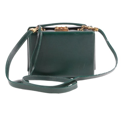 Mark Cross Grace Crossbody Bag in Green Saffiano Leather