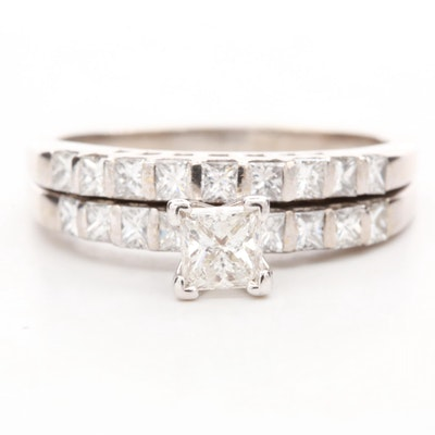 14K White Gold 1.24 CTW Diamond Solitaire Ring and Band Set