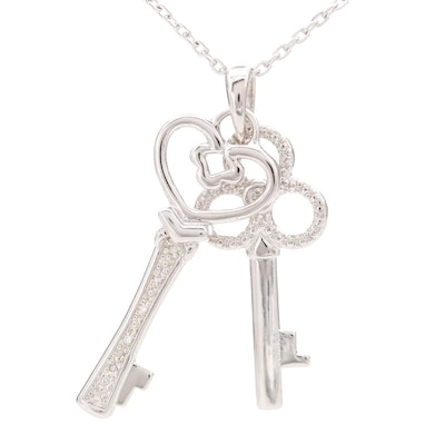 Sterling Silver Diamond Keys Pendant With Chain