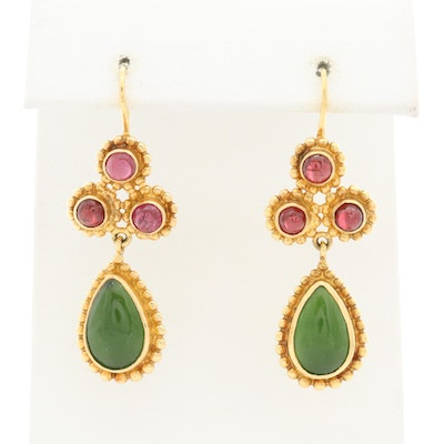 Lalaounis 18K Yellow Gold Nephrite and Rhodolite Garnet Drop Earrings