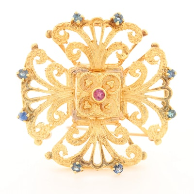 18K Yellow Gold Ruby and Sapphire Brooch