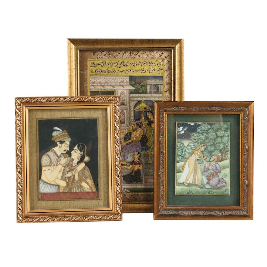 Indo-Persian Miniature Gouache Paintings