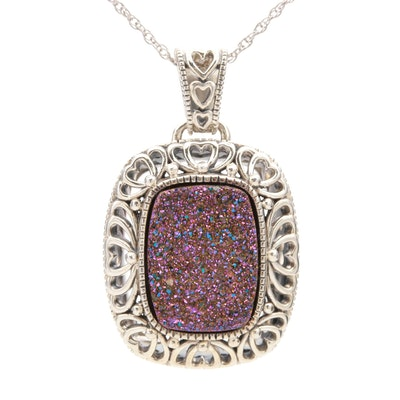 Sterling Silver Druzy Openwork Pendant Necklace
