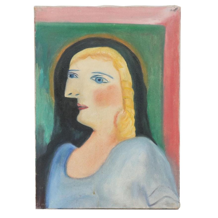 Cubist Style Portrait Oil Painting