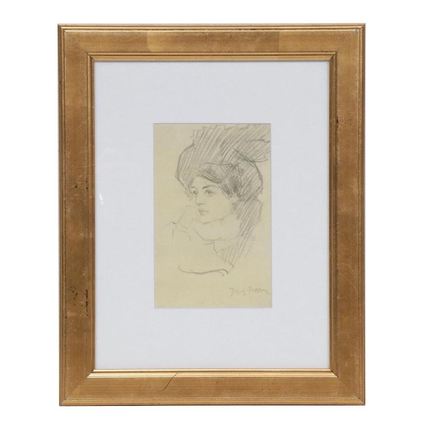 Jacque Villon Female Portrait Lithograph