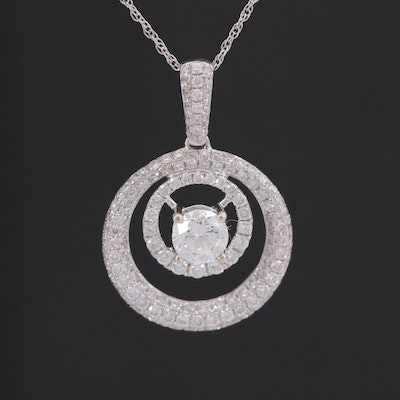 Natalie K 18K White Gold 1.03 CTW Diamond Pendant Necklace with GIA Report