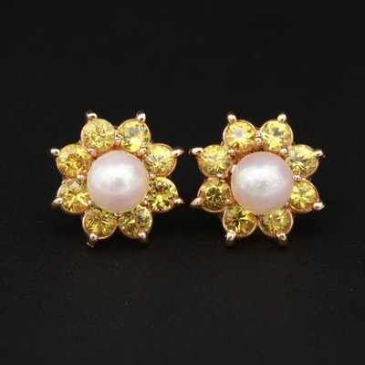 14K Yellow Gold Cultured Pearl Stud Earrings With Yellow Sapphire Jackets