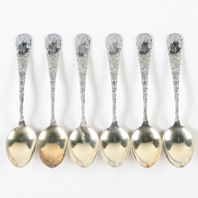 "Gorham ""Douglas"" Sterling Demitasse Spoons with Gold Wash Bowls, Late 19th C."