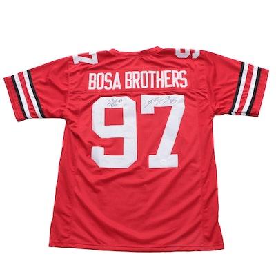 Bosa Brothers Signed Ohio State Buckeyes Football Jersey, JSA COA
