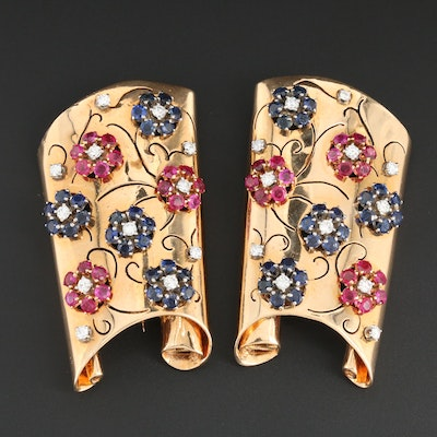 Retro 14K Yellow Gold 1.38 CTW Diamond, Sapphire and Ruby Converter Brooch Set