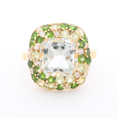 Sterling Silver Prasiolite, Diopside and Cubic Zirconia Ring