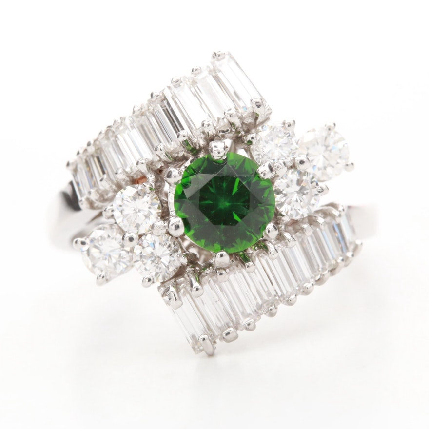 18K White Gold Green Tourmaline and 1.96 CTW Diamond Bypass Ring