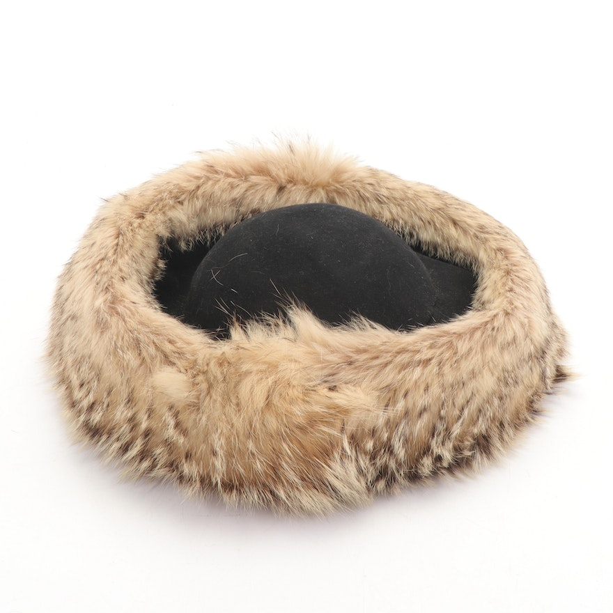 Sally Victor Raccoon Fur Trimmed Black Wool Hat from The French Room, Vintage