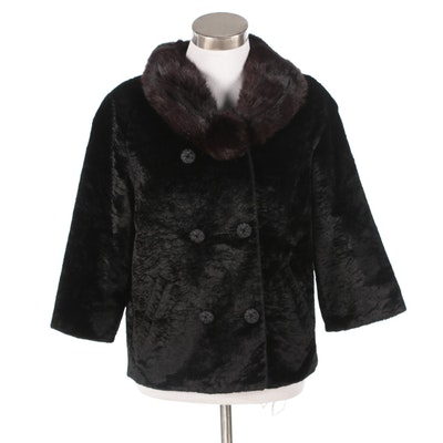 Styled by Winter Faux Broadtail Lamb Fur Coat with Mink Fur Collar, Vintage
