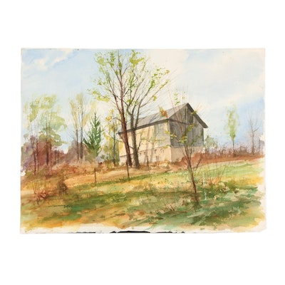 James Devore Watercolor Painting of Pastoral Scene