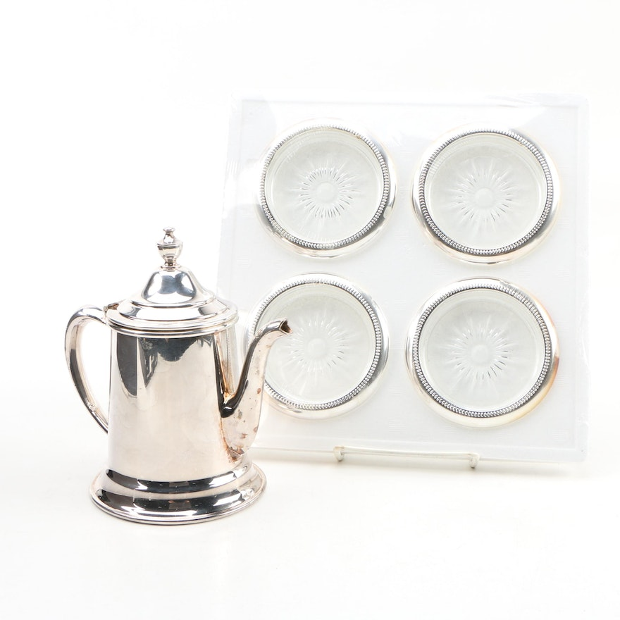 Taunton Silver Plate Water Pitcher with Godinger Silver Plate and Glass Coasters
