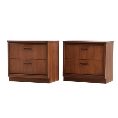 Mid Century Modern Bassett Walnut Nightstands, Pair