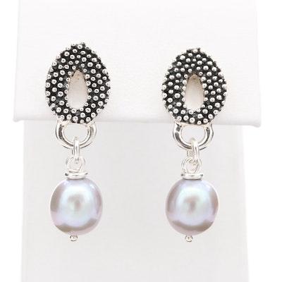 Michael Dawkins Sterling Silver Cultured Pearl Drop Earrings