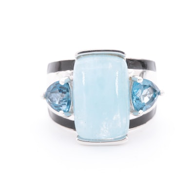Sterling Silver, Aquamarine and Blue Topaz Ring
